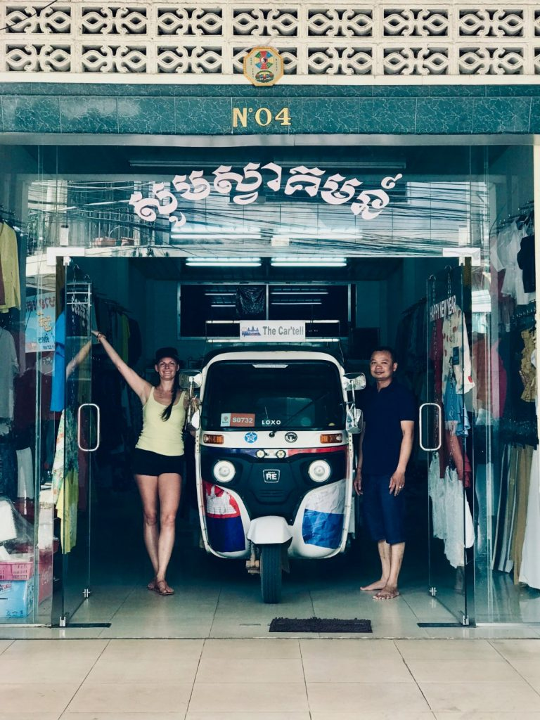 Cambo Challenge TukTuk parked in a shop